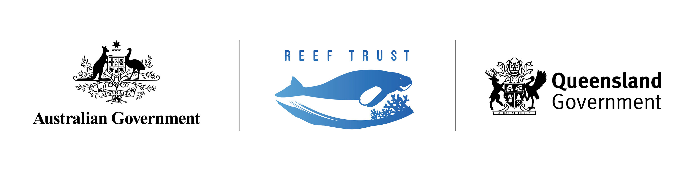 Australian Government, Reef Trust and Queensland Government logos